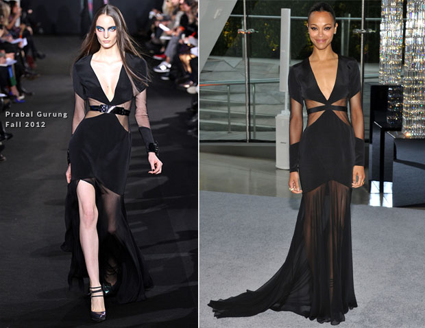Zoe-Saldana-In-Prabal-Gurung-–-2012-CFDA-Fashion-style.com Awards